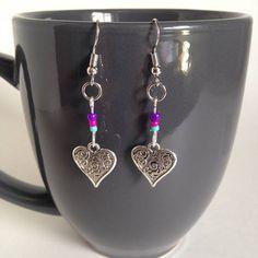 Heart Earrings Tibetan Silver Glass Beads Pink Purple