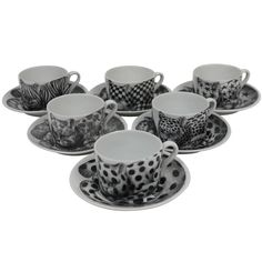 High Fidelity cups and saucers with patterned cats by Fornasetti, Italy,   Mid 20th Century