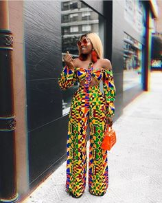 Latest Ankara Fashion Dresses and jumpsuits for women Stylish and colourful African Print chinos to inspire your next street-style outfits by some of Cameroon's coolest fashionistas. African Fashion Ankara, African Inspired Fashion, Latest African Fashion Dresses, African Print Fashion, African Style, Modern African Fashion, African Women Fashion, Womens Fashion, African Print Jumpsuit