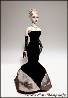 "Collecting Fashion Dolls by Terri Gold, 20th Anniversary Gene souvenir doll ""Black Lipstick"" Gene as Grey Lady."