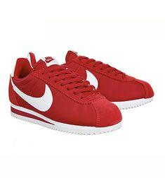 Nike Cortez Nylon Classic Gym Red White - Unisex Sports Zapatillas Nike Cortez, Nike Cortez Shoes, White Style, Red And White, Nike Classic Cortez, Herringbone Pattern, White Nikes, Running Shoes, Women's Sneakers