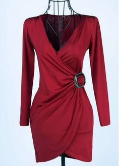 Sexy Sheath Wine Red Long Sleeve Wrap Dress with cheap wholesale price, buy Sexy Sheath Wine Red Long Sleeve Wrap Dress at rotita.com !