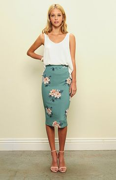 Trend Director Women's High Waisted Knee Length Floral Printed Pencil Skirt. at Amazon Women's Clothing store: