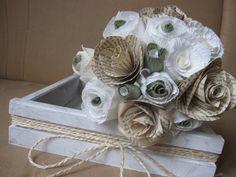 Bridal Wedding Paper Bouquet 15pcs vintage paper by moniaflowers