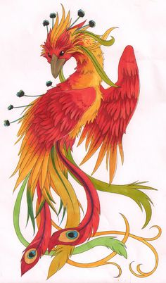 Da Feenix by kissy-face  Designs & Interfaces / Tattoo Design      So my friend sorta wants me to design a bigass phoenix tattoo for her, instead of picking a design out second-hand. One version I tried - pose was nice, however not feminine/inticrate enough. Also the colors failed absolutely.   Prolly took about 3-4 hours total, inking, art and colors total.  DO NOT EVEN THINK OF USING THIS DESIGN WITHOUT MY PERMISSION - I WILL HUNT YOU DOWN. THIS IS FOR A FRIEND, AND NOT FOR OPEN USE.