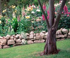 There's a casualness to dry stack walls, an inherent quality that lends itself to freeform shapes and complements more relaxed arrangements of plants, too. This retaining wall lifts the lush collection of flowers up, almost in raised bed fashion, but its loose accumulation of various sized stones provides an easygoing edge to the cottage-style blooms.