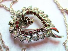 Vintage Red and White Rhinestone Entwined Heart Pendant and Pin from Morning Glorious