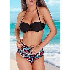 Geometric Print High Waist Halter Two Piece Swimsuit ($19) ❤ liked on Polyvore featuring swimwear, bikinis, figure color, 2 piece swimsuits, underwire bathing suits, swimsuits bikinis, 2 piece bathing suits and underwire swimsuit