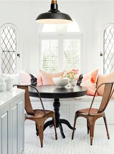 7 Times The Color Pink Rocked A Room - what makes this breakfast nook are those side windows