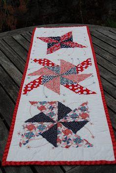 """""""Patriotic Pinwheels"""" runner (from Trillium Design)"""
