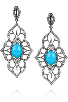 Loree Rodkin  Open Flower 18-karat rhodium white gold and diamond drop earrings