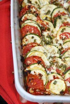 Tomato, Squash, and Feta Gratin with Garlic, Basil, and Fresh Parmesan