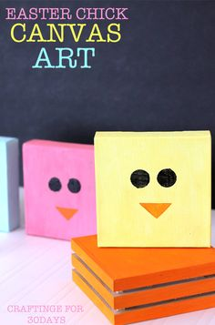 Easter Chick Canvas Art   How fun is this?! Easy Easter craft with fun results. #Easter #crafts