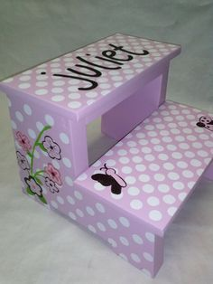 Children's Step Stool mini polka dots and flowers by wouldknots, $55.00