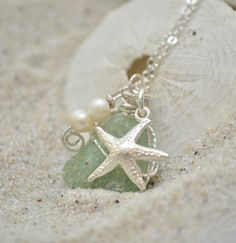 Seaglass Necklae with Starfish Charm - Blue Seaglass Jewelry - Sterling Silver. $30.00, via Etsy.