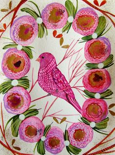 Bird Flowers Watercolor Ink Gouache Bird Decor by CelineArtGalerie, €120.00