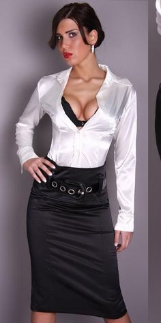 Black Satin Pencil Skirt and White Satin Blouse