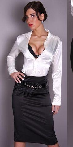 Black Satin Pencil Skirt and White Satin Blouse