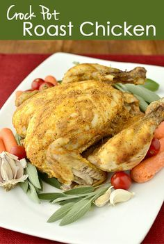 Crock Pot Roast Chicken | iowagirleats.com | Can make multiple meals and lunches out of this!