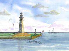 Buffalo Main Lighthouse, Buffalo Watercolor prints and note cards of over 250 lighthouses all over the USA. Start your collection today. Original paintings by sailor/artist Alfred La Banca, Darien, CT