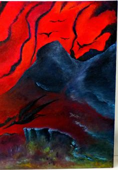 I See Fire, ORIGINAL handmade oil painting on linen/coton canvas, vulcano and dragons, 81x65 cms
