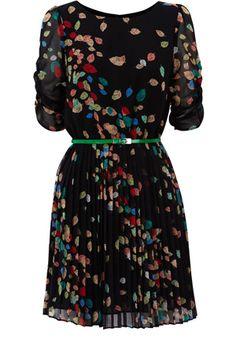 Leaf Print Printed Skater Dress  >> Love this dress!