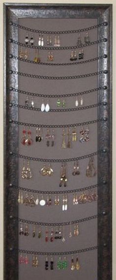 Custom Frame Smarts - Create a great custom earring holder with a frame to fit your space! (Great use for an old, long mirror that's just hanging around.) I HAVE GOT TO DO THIS!