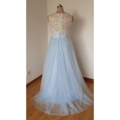 2015 Scoop Sweetheart Ivory Lace Light Sky Blue Tulle Long Prom Dress... ($119) ❤ liked on Polyvore featuring dresses, blue dress, ivory dress, tulle dress, sky blue dress and tulle prom dress