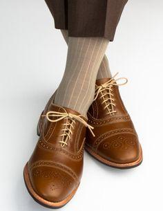 Dapper Classics Taupe Ribbed Fine Merino Wool Linked Toe Sock