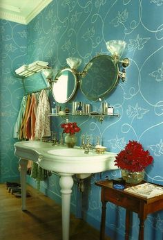 vintage bathroom with a delicate feminine touches. Bathroom Images, Bathroom Ideas, Bathroom Storage, Bathroom Inspiration, Turquoise Chandelier, Powder Room Design, House Of Turquoise, Home Board, Room Accessories