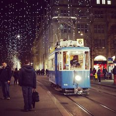 Vintage tram in Zürich during Christmas time