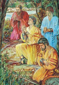 Book of Mormon. The four sons of Mosiah in prayer.