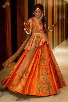 Peplum Lehenga Styles. Love this orange gold peplum lehenga with belt. #Frugal2Fab