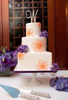 purple and orange wedding cake... OMG!! THIS WILLBR MY WEDDING CAKE ...