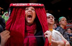 Amanda Owens, a junior at Seward High School, dressed as a kissing booth for the game as Seward met Northwest in the semifinal round of the Nebraska state high school Class B basketball championships at the Bob Devaney Sports Center in Lincoln on Friday, March 1, 2013.  By: MARK DAVIS/THE WORLD-HERALD