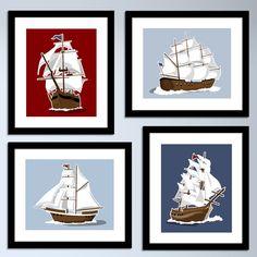 sailboat wall art - nautical art prints - set of 4 childrens art prints - pick your colors, boys wall art nursery sail boat pirate ship