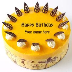 Write name on mango birthday cake pics.birthday cake name creator. write name on birthday cake Birthday Wishes With Name, Happy Birthday Wishes Cake, Birthday Cake With Flowers, Birthday Msgs, Lemon Birthday Cakes, Custom Birthday Cakes, Cake Images, Cake Pictures, Cake Pics