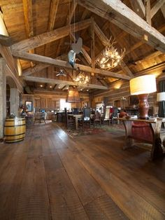 Wide floor boards & massive beams ~ from Reclaimed Timber Framed Homes
