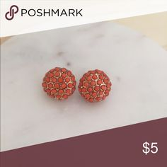 Orange beaded cluster earrings Orange beads on gold circular studs Francesca's Collections Jewelry Earrings