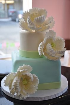 Peonies and Pastel colors Cake