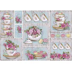 Kitchen-cups-macarons-Papel Decoupage PD-451 - Litocart - PalacioDaArte Decoupage Vintage, Vintage Tags, Vintage Labels, Etiquette Vintage, Printable Scrapbook Paper, Arts And Crafts, Paper Crafts, Tea Art, Paper Tags