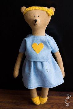 Brummi bear girl with the heart - Teddy bear - soft toy bear - coffee toy -