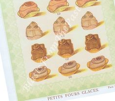 Vintage Petit Fours Glaces PASTRY print Miniature Cakes Vintage Prints, Miniatures, Place Card Holders, Cakes, Unique Jewelry, Handmade Gifts, Etsy, Petit Fours, Ice