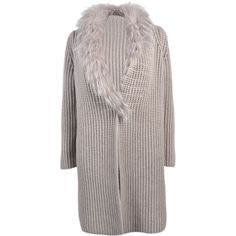 Fabiana Filippi Knitted Long Cardigan ($1,110) ❤ liked on Polyvore featuring tops, cardigans, grey, long gray cardigan, long grey cardigan, grey top, gray cardigan and side slit top