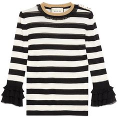 Gucci Striped Viscose Knit Top ( 1,290) ❤ liked on Polyvore featuring tops,  gucci, white striped shirt, white knit top, striped shirt, white 3 4 sleeve  ... 7c1a7b4da98