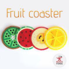 Summer time! Fruity fresh coasters.  #beadsforge #beads #artkal #hama #perlerbeads #hamabeads #artkalbeads #bügelperlen #beadart #pixel #summer #fruity #fresh #apple #melon #lemon #kiwi #coaster