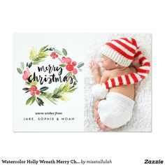 Watercolor Holly Wreath Merry Christmas Photo Card Elegant and whimsical Christmas photo card featuring watercolor holly wreath and brush typography. Complete your card with matching stamps, stickers and labels. Merry Christmas Card Photo, Holiday Photo Cards, Holiday Photos, Christmas Holidays, Christmas Wreaths, Christmas Cards, Christmas Greetings, Christmas Ideas, Christmas Design