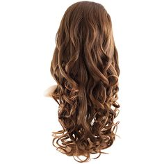 Eva Long Loose Curls Half-Head Wig In #2/30 Warm Brunette ($36) ❤ liked on Polyvore featuring beauty products, haircare, hair styling tools, hair, hair styles and hairstyles