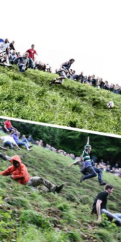Cooper's Hill Cheese Rolling is an extraordinary event in England. 5000 participants chase a rolling cheese down the hill. Definitely for your bucket list! Cheese Rolling, Festivals Around The World, Carnivals, Equinox, Great Britain, Rolls, Bucket, Around The Worlds, Carnavals