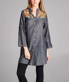 Look at this #zulilyfind! Black Embroidered-Shoulder Button-Up Tunic Dress - Plus #zulilyfinds